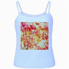 Monotype Art Pattern Leaves Colored Autumn Baby Blue Spaghetti Tank