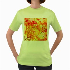 Monotype Art Pattern Leaves Colored Autumn Women s Green T Shirt