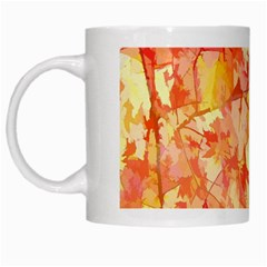 Monotype Art Pattern Leaves Colored Autumn White Mugs by Amaryn4rt