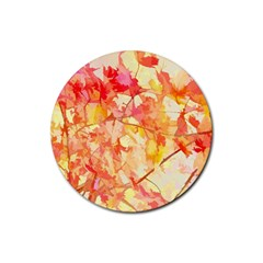Monotype Art Pattern Leaves Colored Autumn Rubber Coaster (round)  by Amaryn4rt