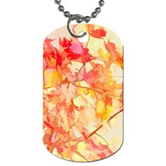 Monotype Art Pattern Leaves Colored Autumn Dog Tag (one Side)