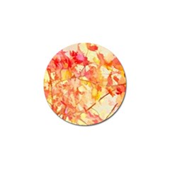 Monotype Art Pattern Leaves Colored Autumn Golf Ball Marker by Amaryn4rt