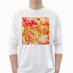 Monotype Art Pattern Leaves Colored Autumn White Long Sleeve T Shirts