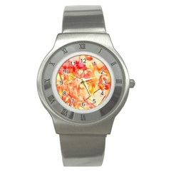 Monotype Art Pattern Leaves Colored Autumn Stainless Steel Watch