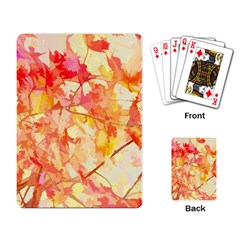 Monotype Art Pattern Leaves Colored Autumn Playing Card