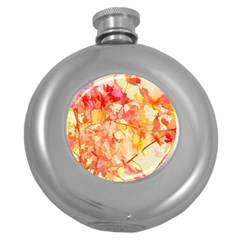 Monotype Art Pattern Leaves Colored Autumn Round Hip Flask (5 Oz)