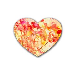 Monotype Art Pattern Leaves Colored Autumn Heart Coaster (4 Pack)