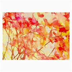 Monotype Art Pattern Leaves Colored Autumn Large Glasses Cloth