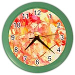 Monotype Art Pattern Leaves Colored Autumn Color Wall Clocks Front