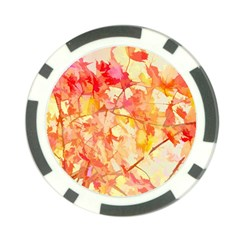 Monotype Art Pattern Leaves Colored Autumn Poker Chip Card Guards by Amaryn4rt