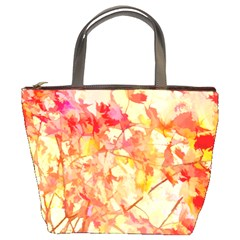 Monotype Art Pattern Leaves Colored Autumn Bucket Bags by Amaryn4rt