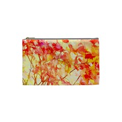 Monotype Art Pattern Leaves Colored Autumn Cosmetic Bag (small)