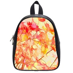 Monotype Art Pattern Leaves Colored Autumn School Bags (small)