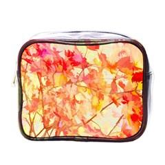 Monotype Art Pattern Leaves Colored Autumn Mini Toiletries Bags