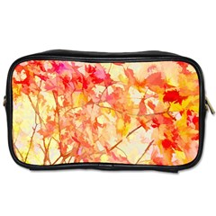 Monotype Art Pattern Leaves Colored Autumn Toiletries Bags