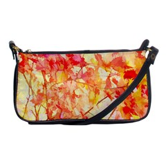 Monotype Art Pattern Leaves Colored Autumn Shoulder Clutch Bags