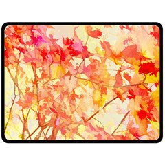 Monotype Art Pattern Leaves Colored Autumn Fleece Blanket (large)  by Amaryn4rt