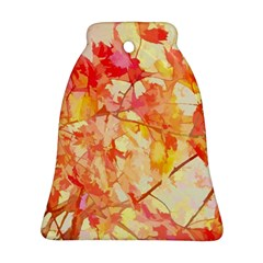 Monotype Art Pattern Leaves Colored Autumn Bell Ornament (2 Sides)
