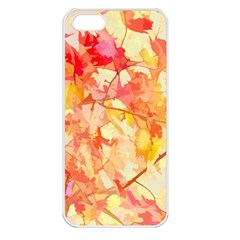 Monotype Art Pattern Leaves Colored Autumn Apple Iphone 5 Seamless Case (white)