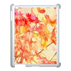 Monotype Art Pattern Leaves Colored Autumn Apple Ipad 3/4 Case (white) by Amaryn4rt