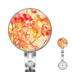 Monotype Art Pattern Leaves Colored Autumn Stainless Steel Nurses Watch