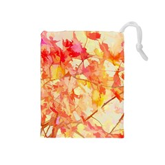 Monotype Art Pattern Leaves Colored Autumn Drawstring Pouches (medium)  by Amaryn4rt