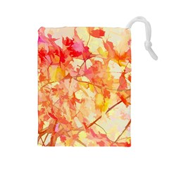 Monotype Art Pattern Leaves Colored Autumn Drawstring Pouches (large)