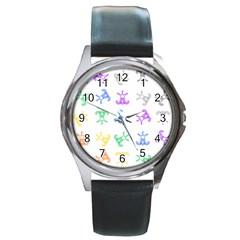 Rainbow Clown Pattern Round Metal Watch
