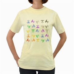 Rainbow Clown Pattern Women s Yellow T Shirt