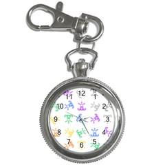 Rainbow Clown Pattern Key Chain Watches