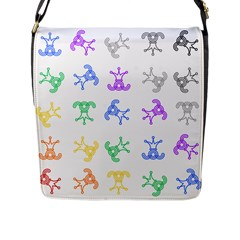 Rainbow Clown Pattern Flap Messenger Bag (l)