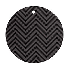 Background Gray Zig Zag Chevron Ornament (round)