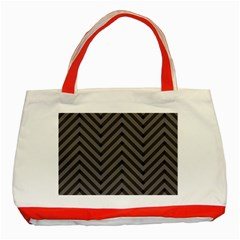 Background Gray Zig Zag Chevron Classic Tote Bag (red)