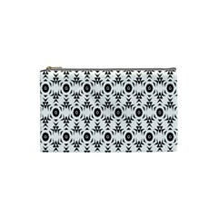Black White Flower Cosmetic Bag (small)  by AnjaniArt