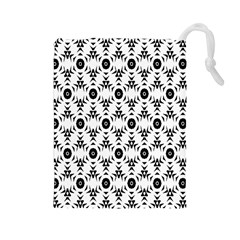 Black White Flower Drawstring Pouches (large)  by AnjaniArt