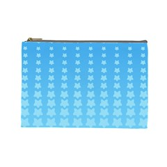 Blue Stars Background Line Cosmetic Bag (large)  by AnjaniArt
