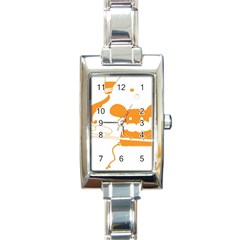 Brushing Teeth Mouse Orange Rectangle Italian Charm Watch by AnjaniArt