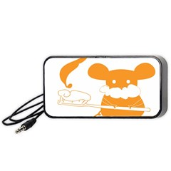 Brushing Teeth Mouse Orange Portable Speaker (black)  by AnjaniArt