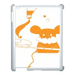 Brushing Teeth Mouse Orange Apple Ipad 3/4 Case (white) by AnjaniArt