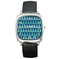 Blues Long Triangle Geometric Tribal Background Square Metal Watch by AnjaniArt
