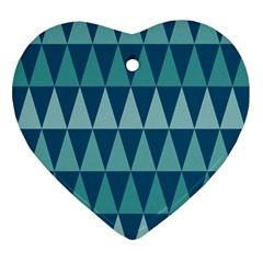 Blues Long Triangle Geometric Tribal Background Heart Ornament (2 Sides) by AnjaniArt