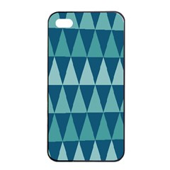 Blues Long Triangle Geometric Tribal Background Apple Iphone 4/4s Seamless Case (black) by AnjaniArt