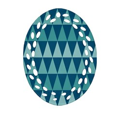 Blues Long Triangle Geometric Tribal Background Ornament (oval Filigree)  by AnjaniArt