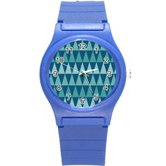 Blues Long Triangle Geometric Tribal Background Round Plastic Sport Watch (s) by AnjaniArt