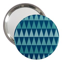 Blues Long Triangle Geometric Tribal Background 3  Handbag Mirrors by AnjaniArt