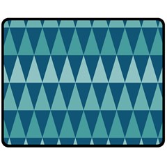 Blues Long Triangle Geometric Tribal Background Double Sided Fleece Blanket (medium)  by AnjaniArt