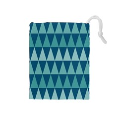 Blues Long Triangle Geometric Tribal Background Drawstring Pouches (medium)  by AnjaniArt