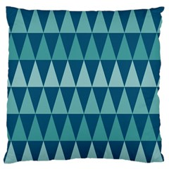 Blues Long Triangle Geometric Tribal Background Large Flano Cushion Case (one Side) by AnjaniArt