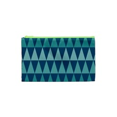 Blues Long Triangle Geometric Tribal Background Cosmetic Bag (xs) by AnjaniArt