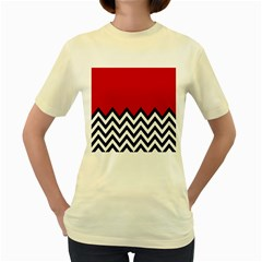 Chevron Red Women s Yellow T Shirt by AnjaniArt
